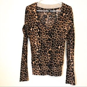 Express Cheetah Leopard Sweater V-Neck Small